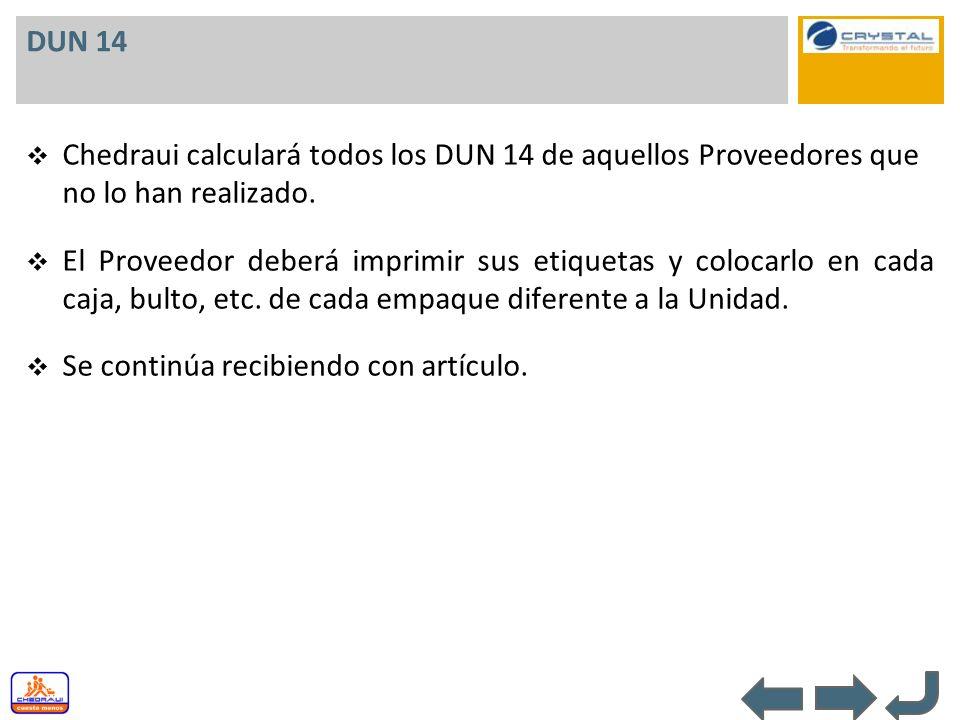 DUN 14 Chedraui calculará todos los DUN 14 de aquellos Proveedores que no lo han realizado.