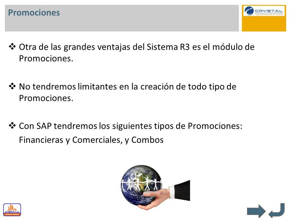 Promociones Otra de las grandes ventajas del Sistema R3 es el módulo de Promociones.