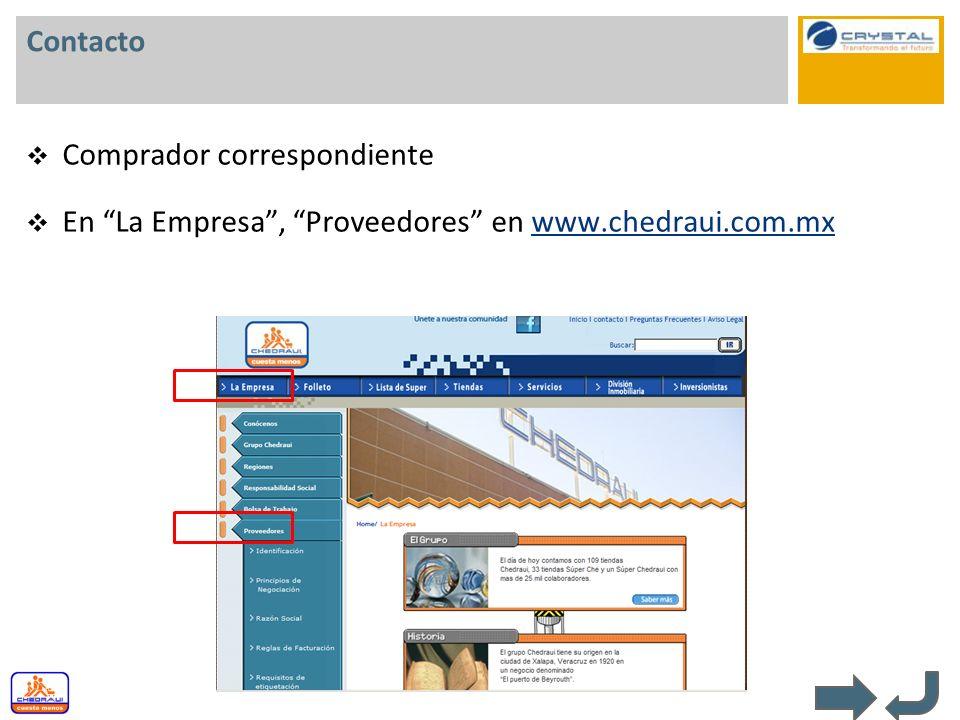 Contacto Comprador correspondiente En La Empresa , Proveedores en www.chedraui.com.mx