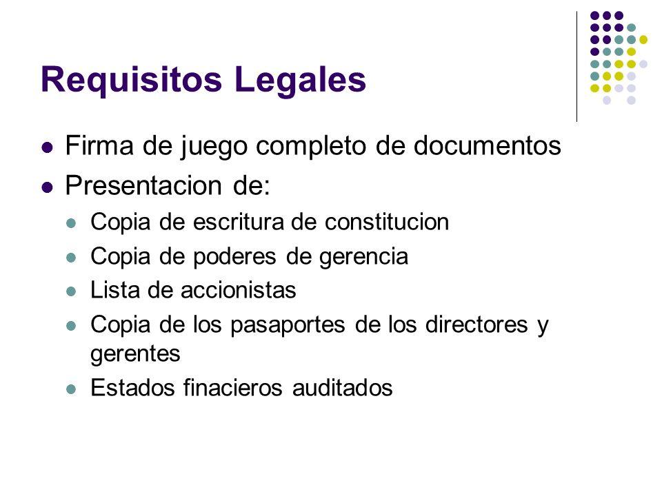 Requisitos Legales Firma de juego completo de documentos