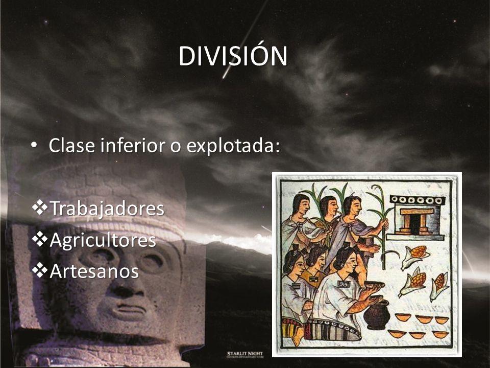 DIVISIÓN Clase inferior o explotada: Trabajadores Agricultores