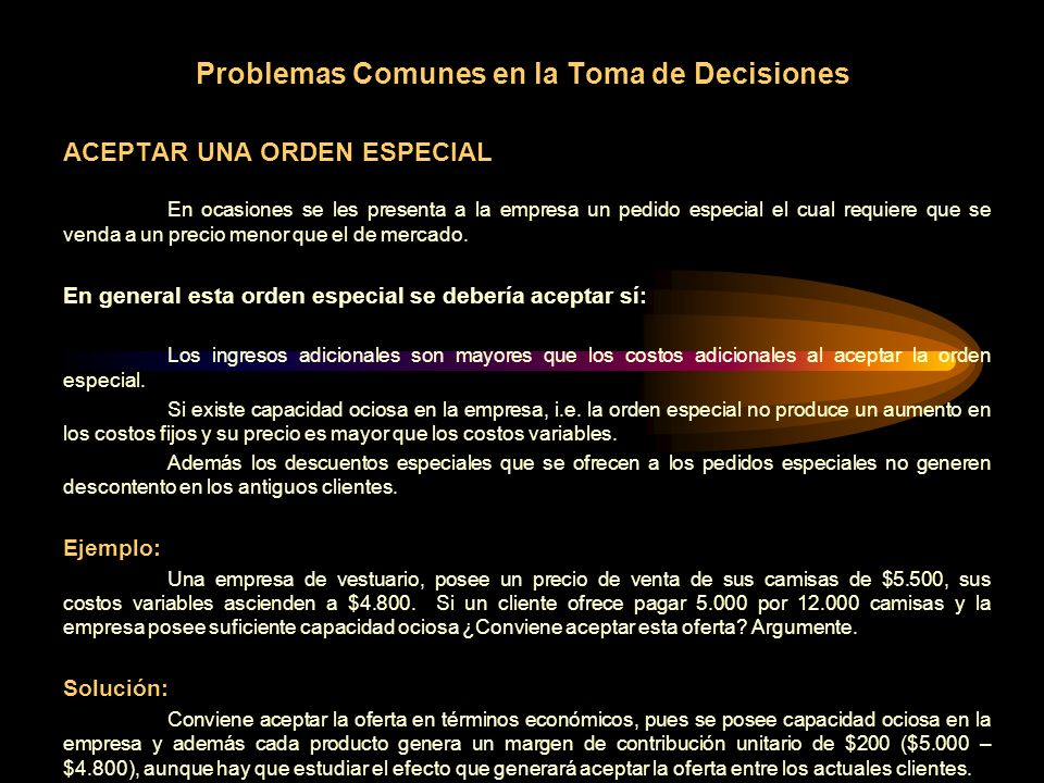 Problemas Comunes en la Toma de Decisiones