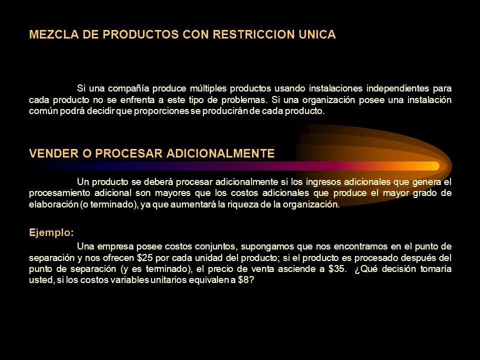 MEZCLA DE PRODUCTOS CON RESTRICCION UNICA