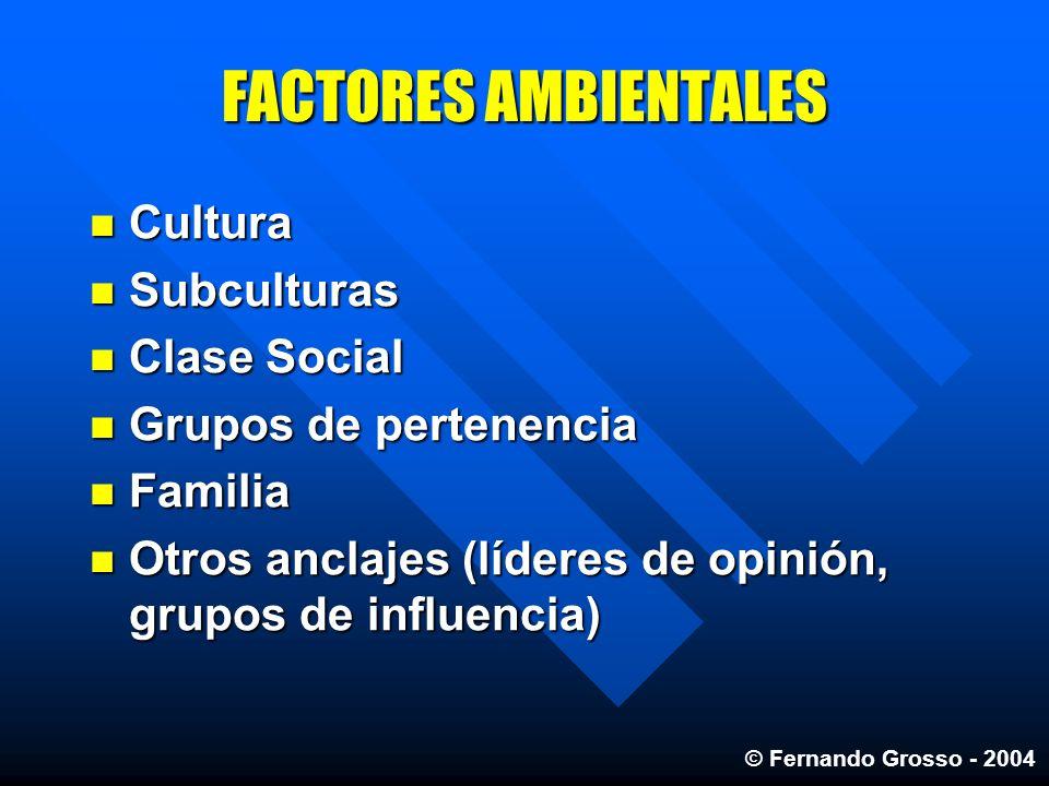 FACTORES AMBIENTALES Cultura Subculturas Clase Social