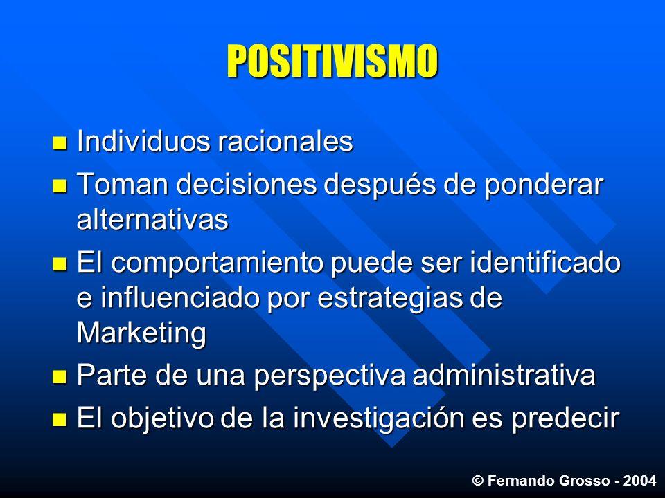 POSITIVISMO Individuos racionales