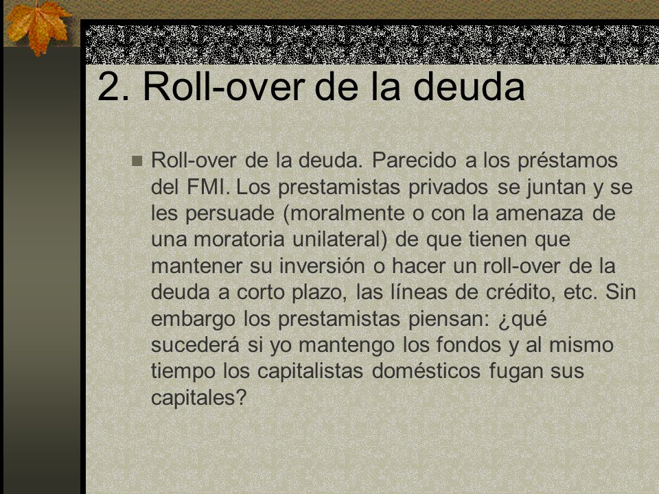 2. Roll-over de la deuda