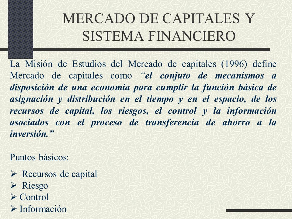 MERCADO DE CAPITALES Y SISTEMA FINANCIERO