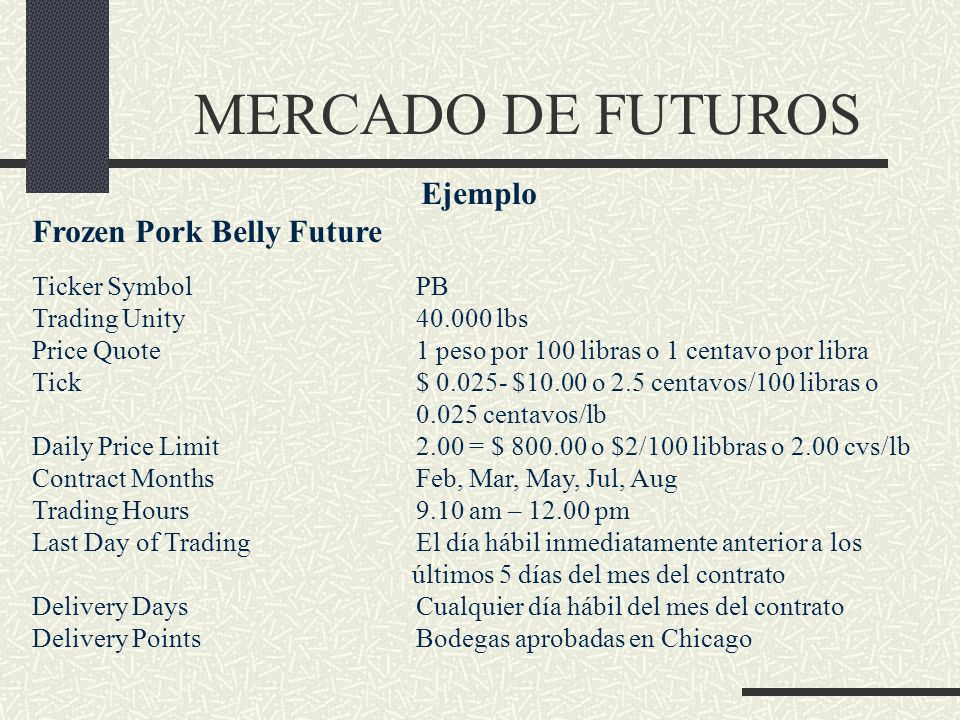 MERCADO DE FUTUROS Ejemplo Frozen Pork Belly Future Ticker Symbol PB
