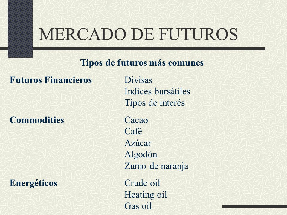 Tipos de futuros más comunes