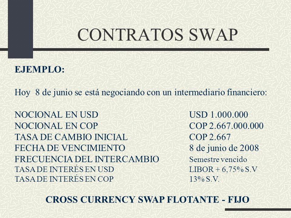 CROSS CURRENCY SWAP FLOTANTE - FIJO