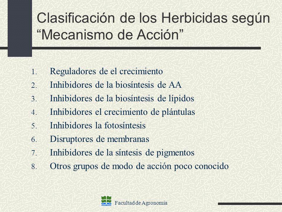 Clasificación de los Herbicidas según Mecanismo de Acción