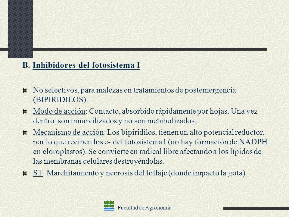 B. Inhibidores del fotosistema I