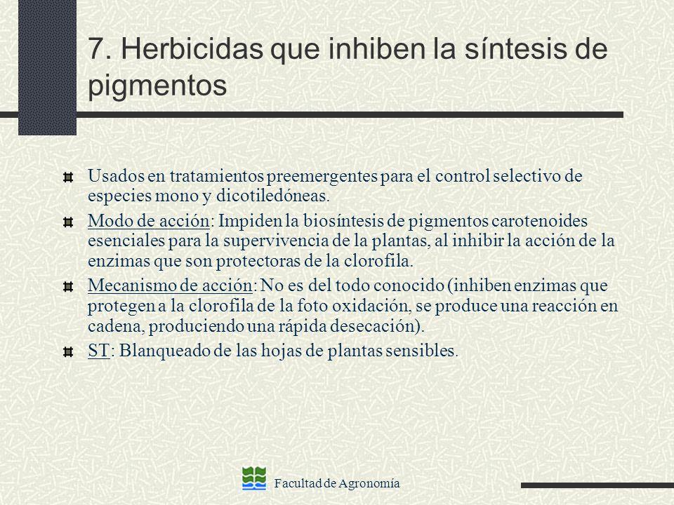 7. Herbicidas que inhiben la síntesis de pigmentos