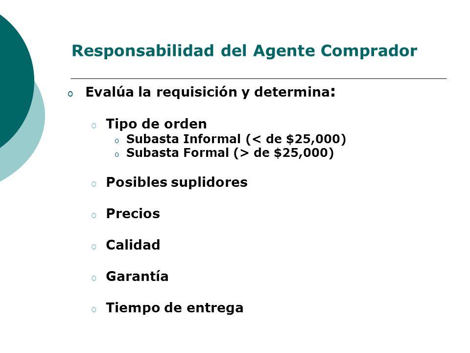 Responsabilidad del Agente Comprador