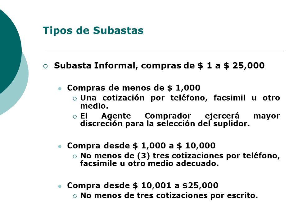 Tipos de Subastas Subasta Informal, compras de $ 1 a $ 25,000