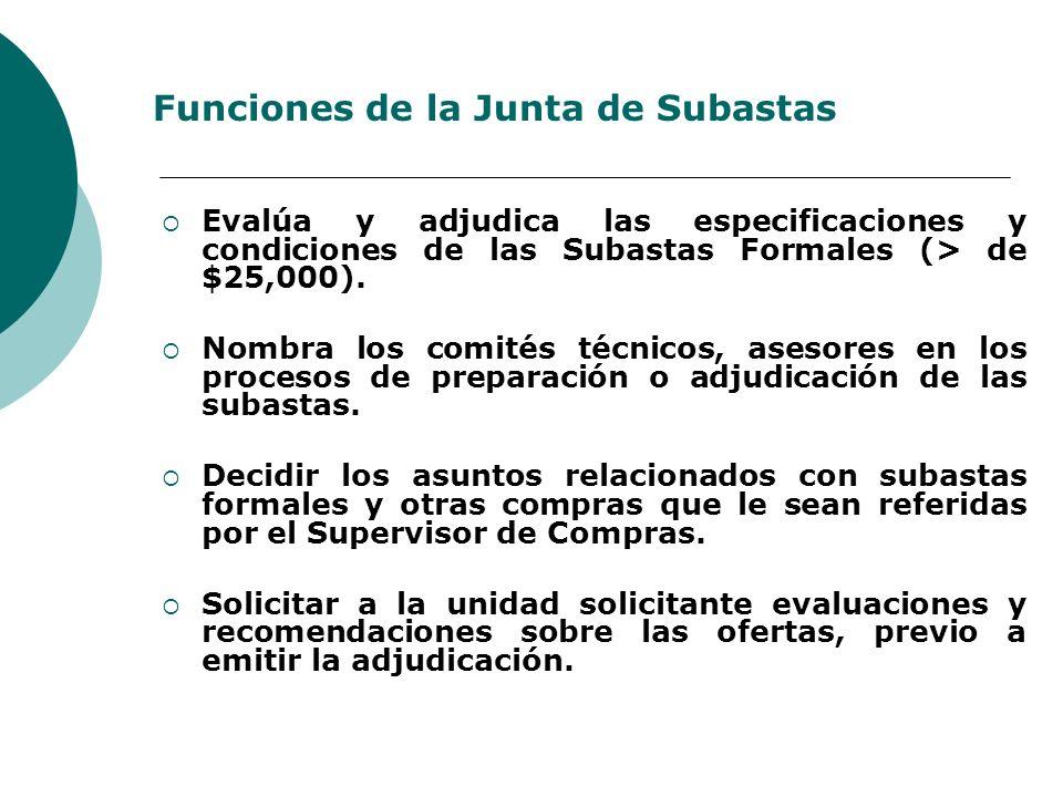 Funciones de la Junta de Subastas