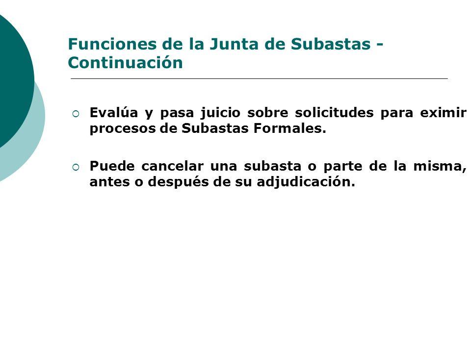 Funciones de la Junta de Subastas - Continuación