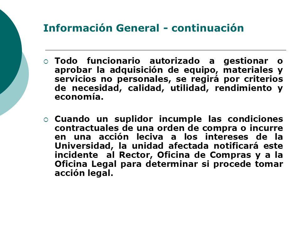 Información General - continuación