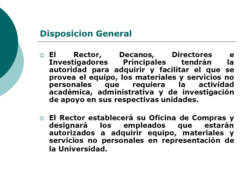 Disposicion General
