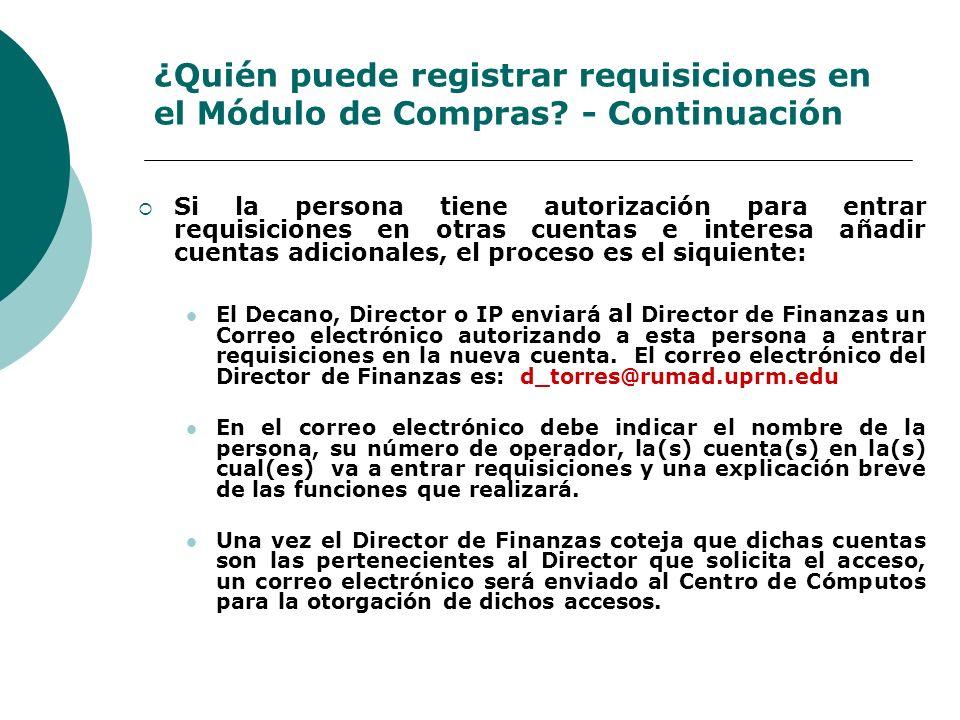 ¿Quién puede registrar requisiciones en el Módulo de Compras