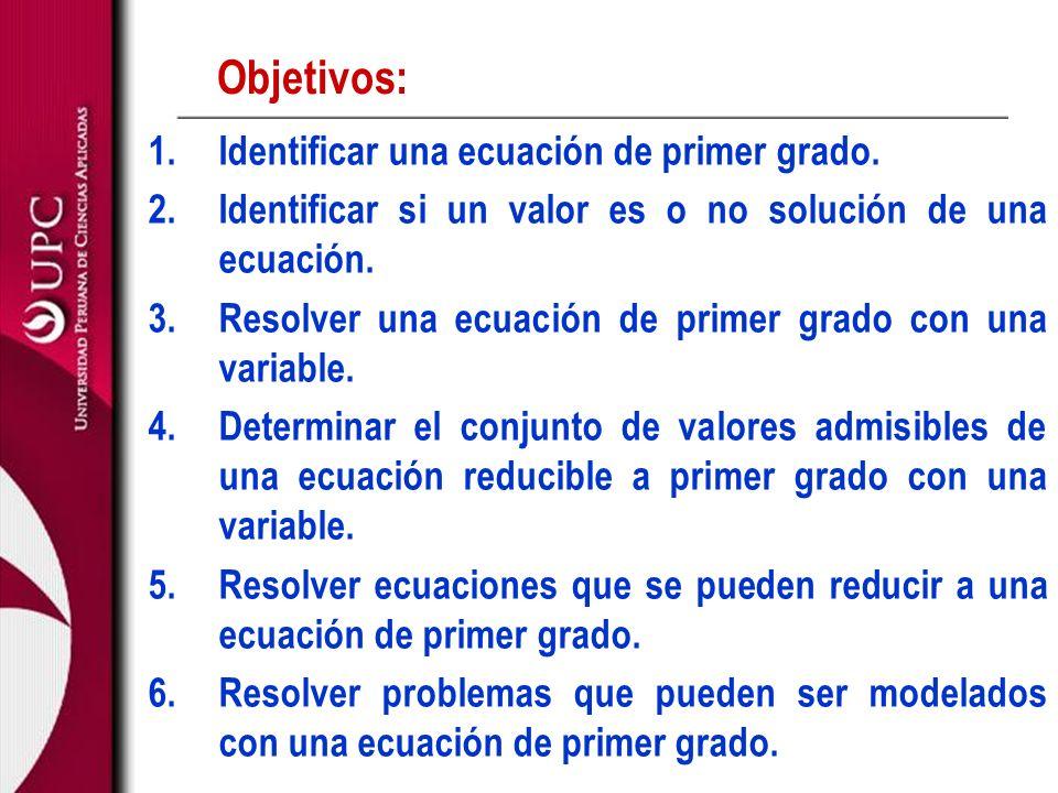 Objetivos: Identificar una ecuación de primer grado.