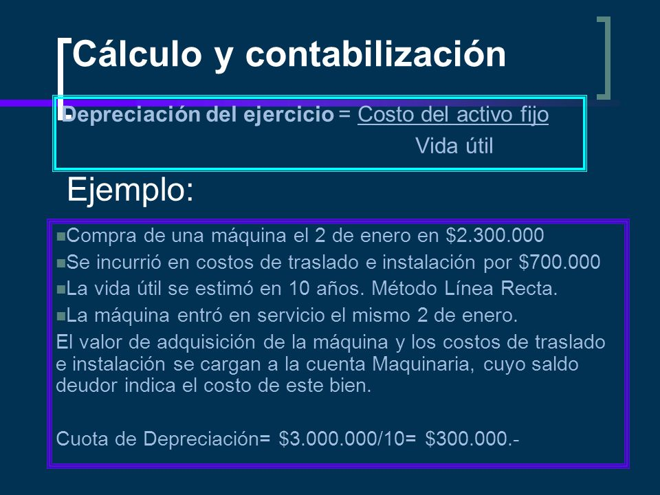 Cálculo y contabilización