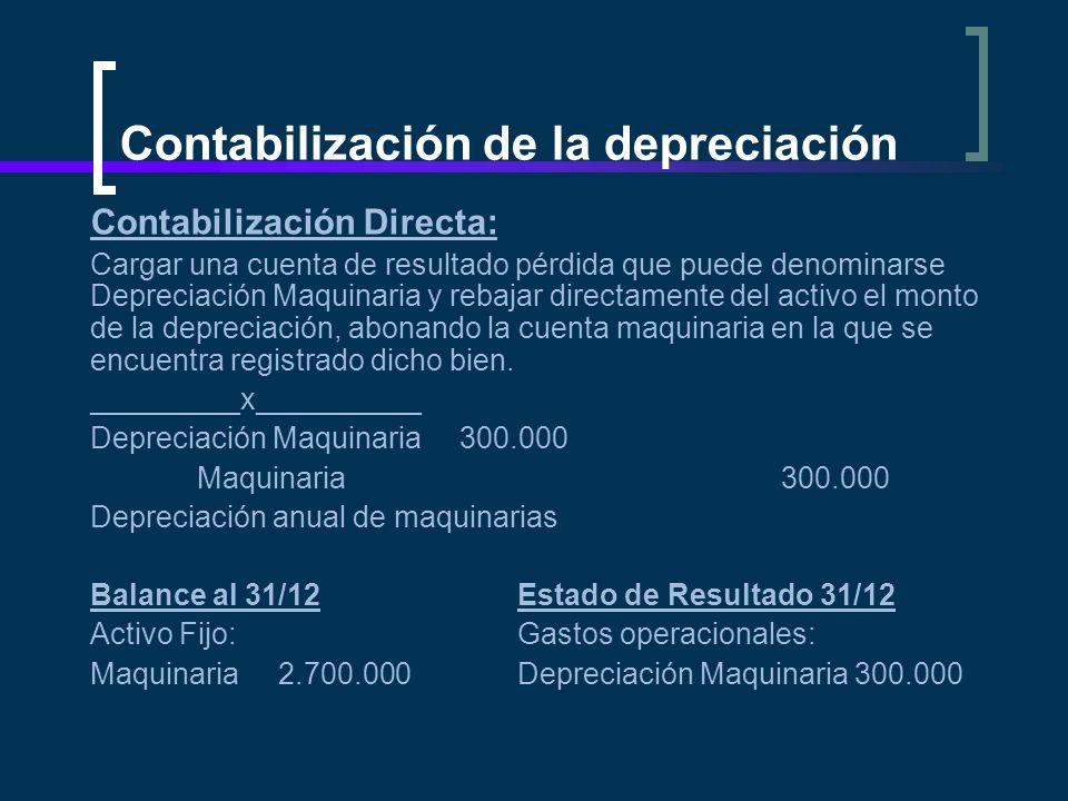 Contabilización de la depreciación