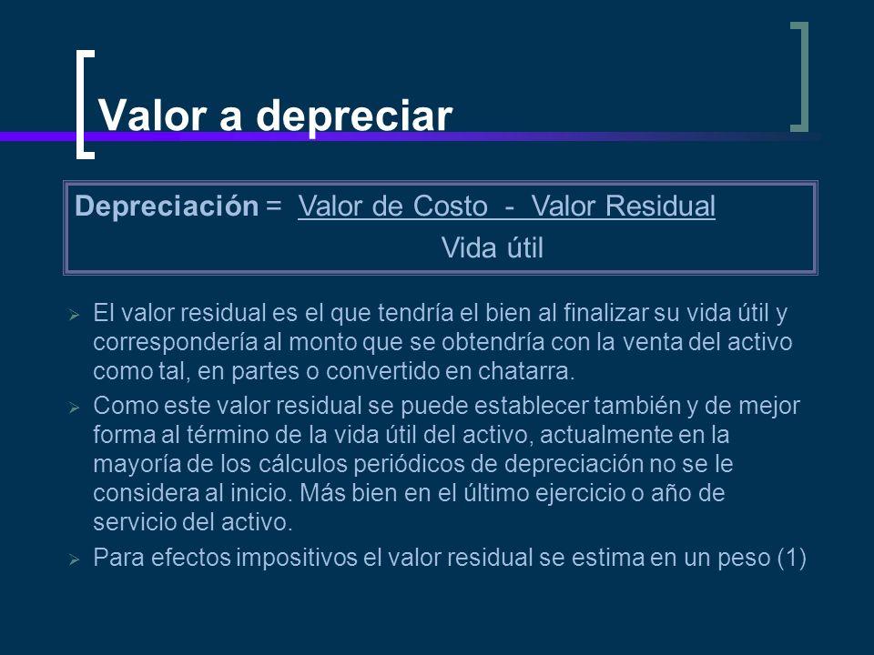 Valor a depreciar Depreciación = Valor de Costo - Valor Residual