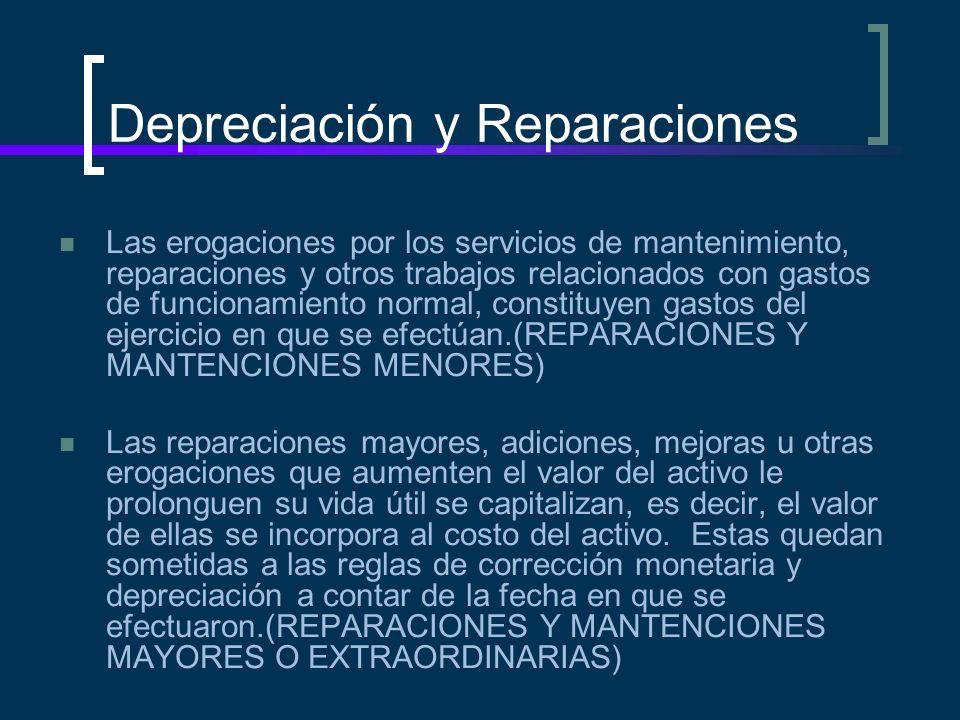 Depreciación y Reparaciones