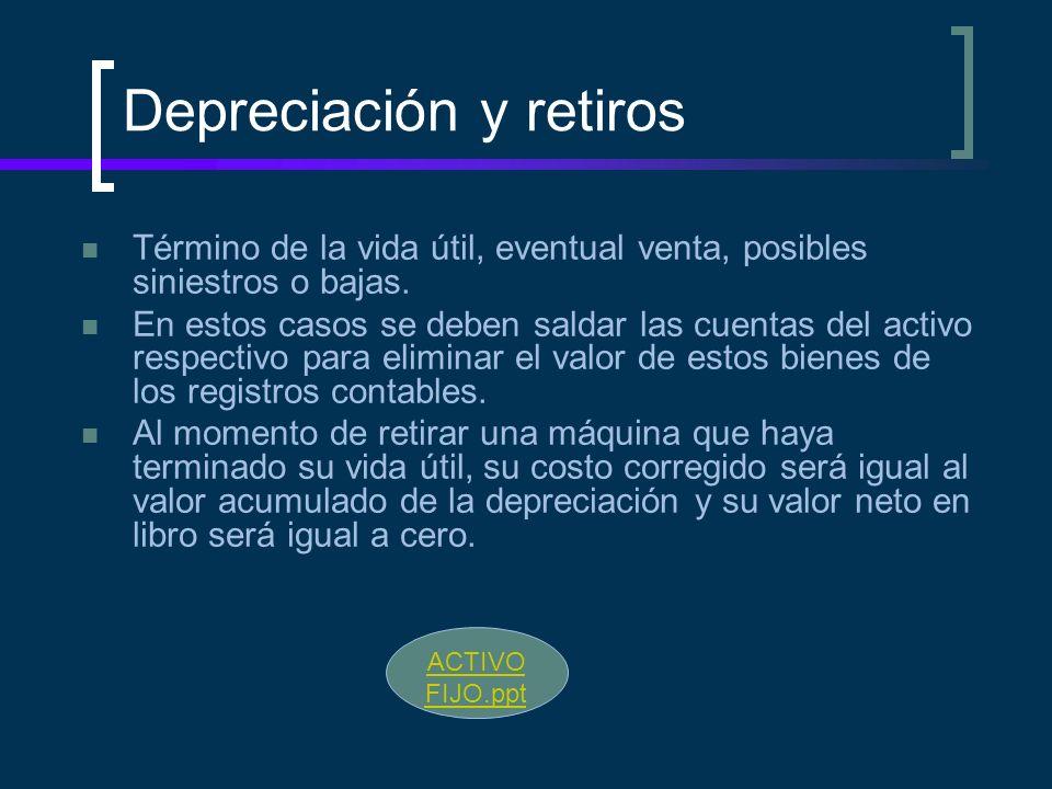 Depreciación y retiros