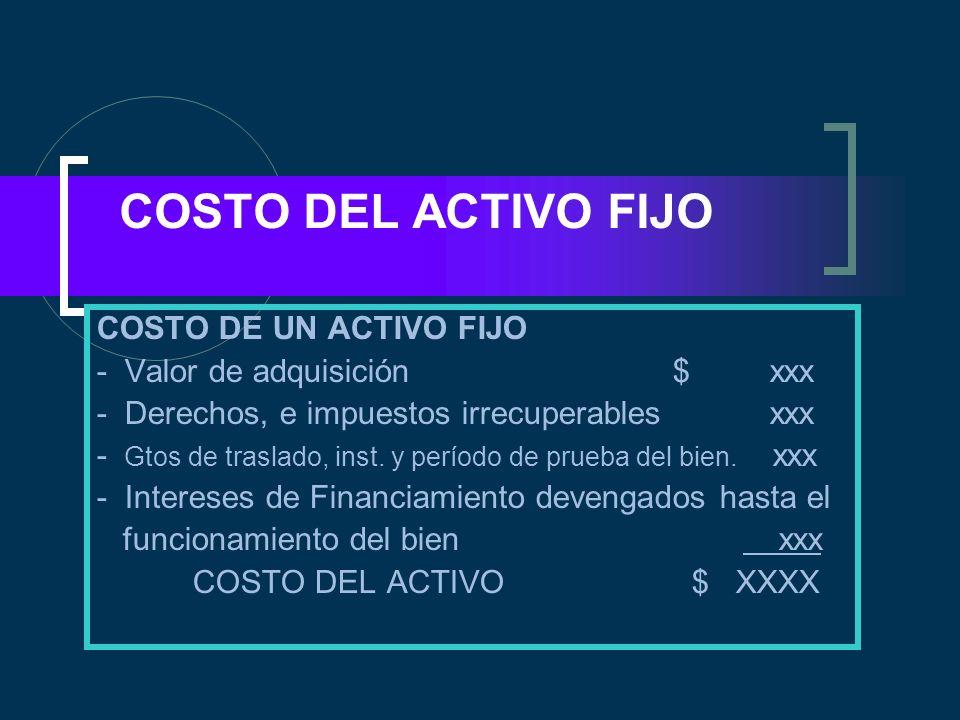 COSTO DEL ACTIVO FIJO COSTO DE UN ACTIVO FIJO