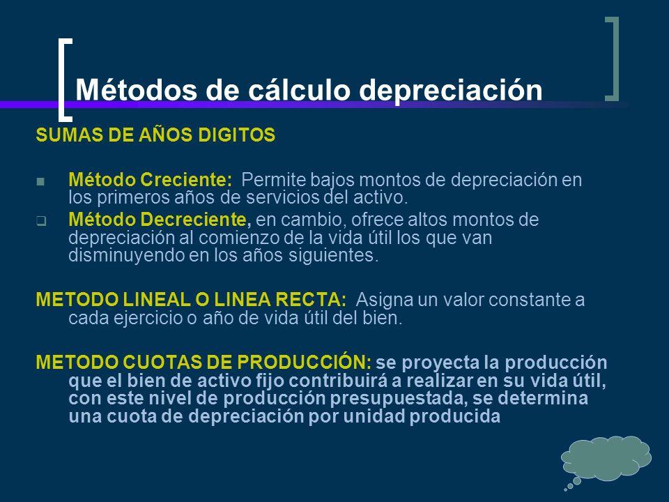 Métodos de cálculo depreciación