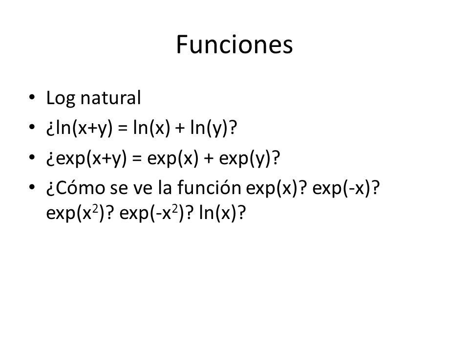 Funciones Log natural ¿ln(x+y) = ln(x) + ln(y)