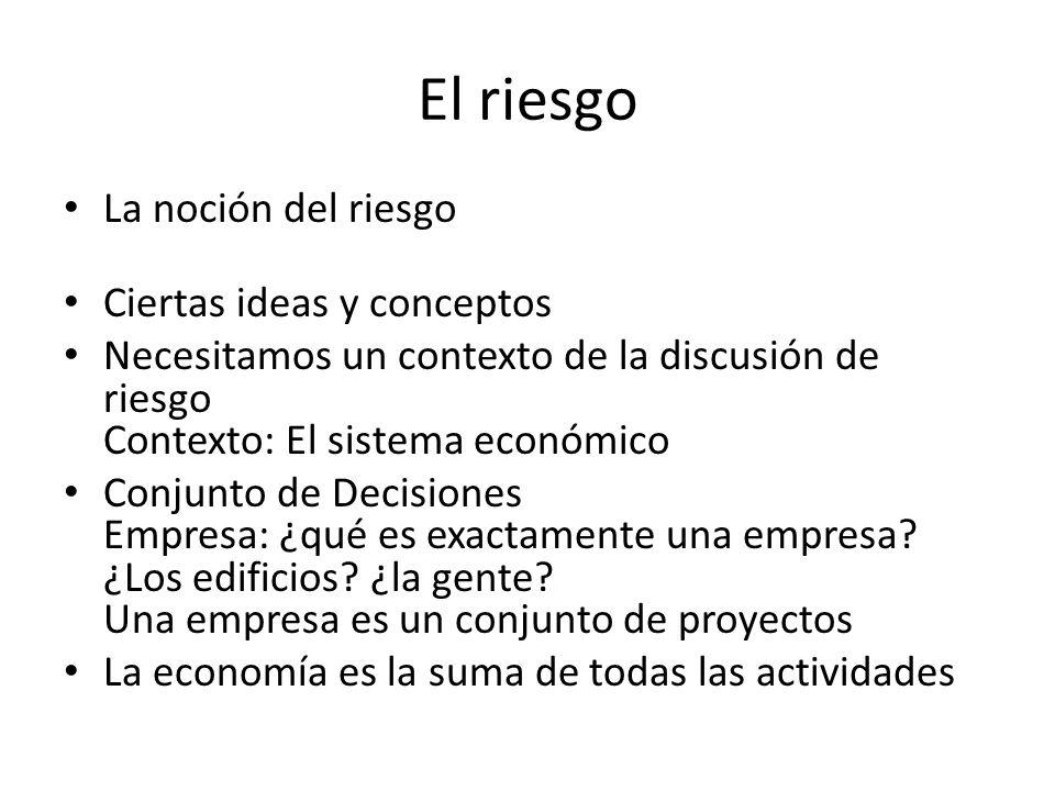 El riesgo La noción del riesgo Ciertas ideas y conceptos