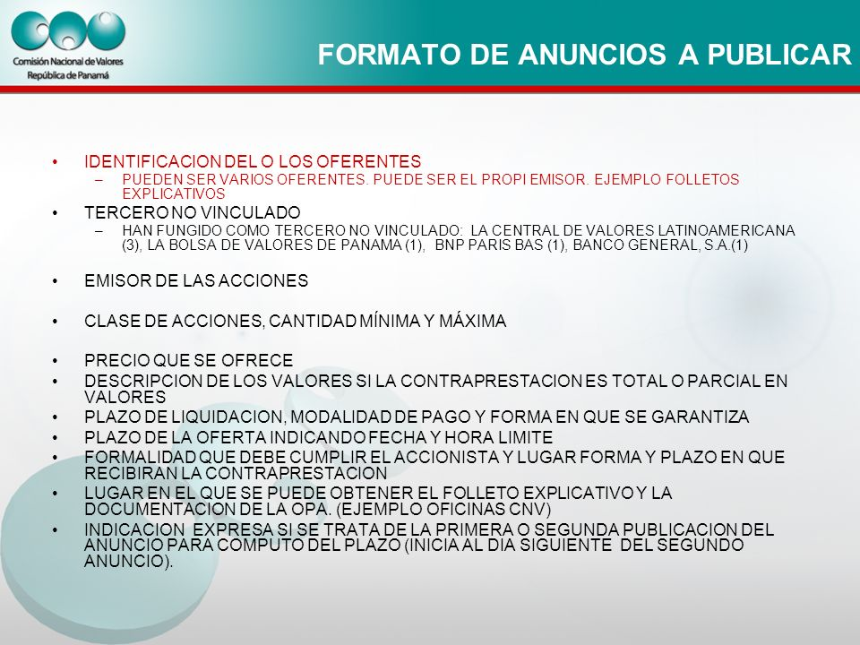 FORMATO DE ANUNCIOS A PUBLICAR