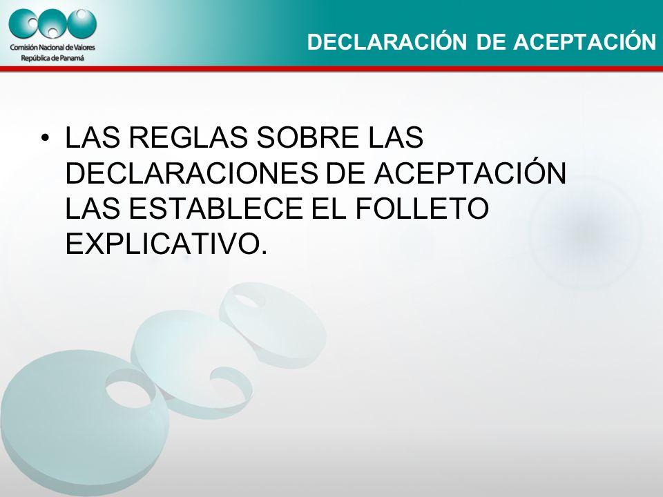 DECLARACIÓN DE ACEPTACIÓN