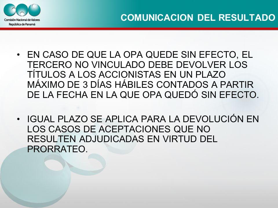 COMUNICACION DEL RESULTADO