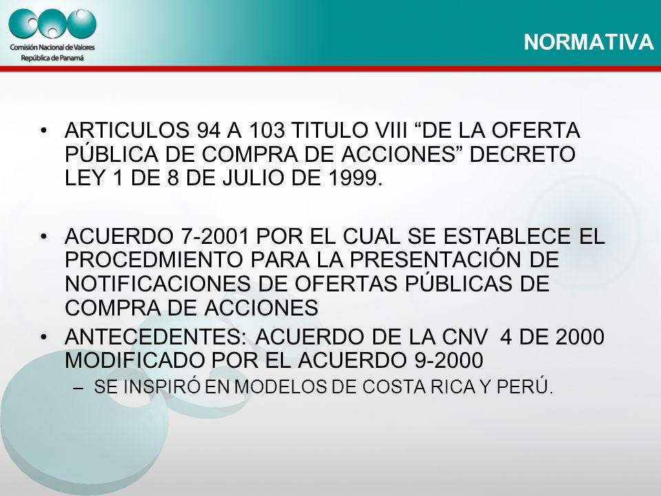 NORMATIVA ARTICULOS 94 A 103 TITULO VIII DE LA OFERTA PÚBLICA DE COMPRA DE ACCIONES DECRETO LEY 1 DE 8 DE JULIO DE 1999.