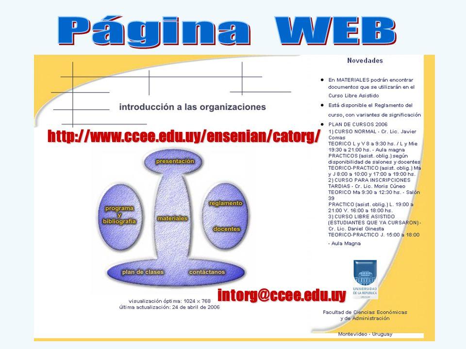 Página WEB http://www.ccee.edu.uy/ensenian/catorg/ intorg@ccee.edu.uy