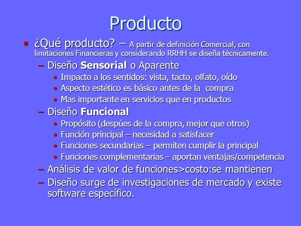 Producto ¿Qué producto – A partir de definición Comercial, con limitaciones Financieras y considerando RRHH se diseña técnicamente.