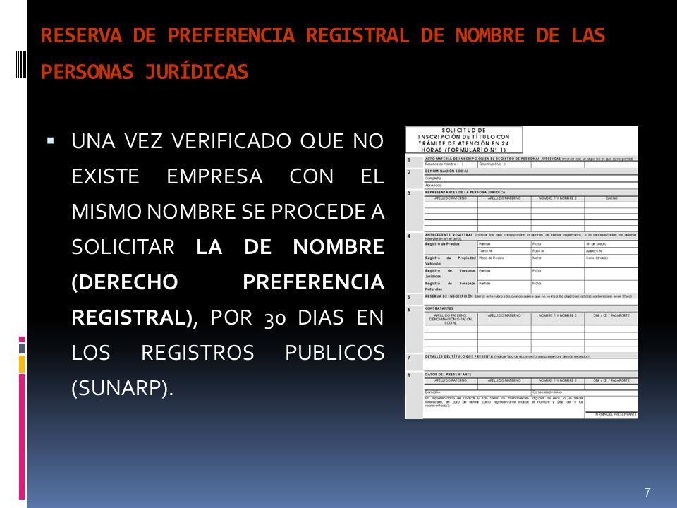 RESERVA DE PREFERENCIA REGISTRAL DE NOMBRE DE LAS PERSONAS JURÍDICAS