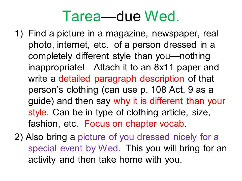Tarea—due Wed.