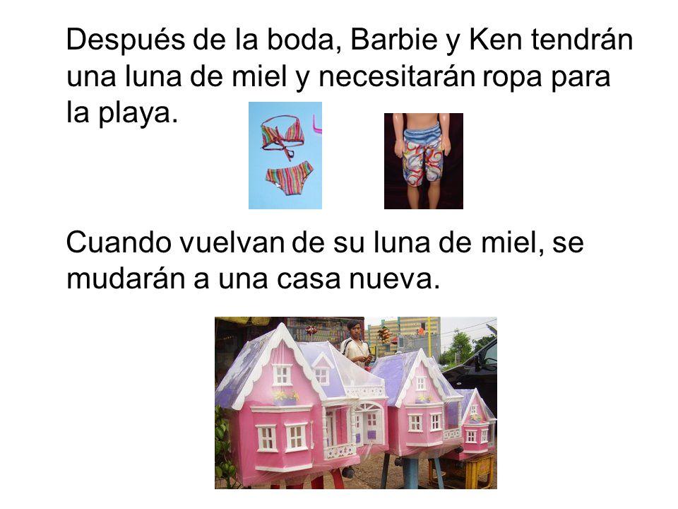 Después de la boda, Barbie y Ken tendrán una luna de miel y necesitarán ropa para la playa.