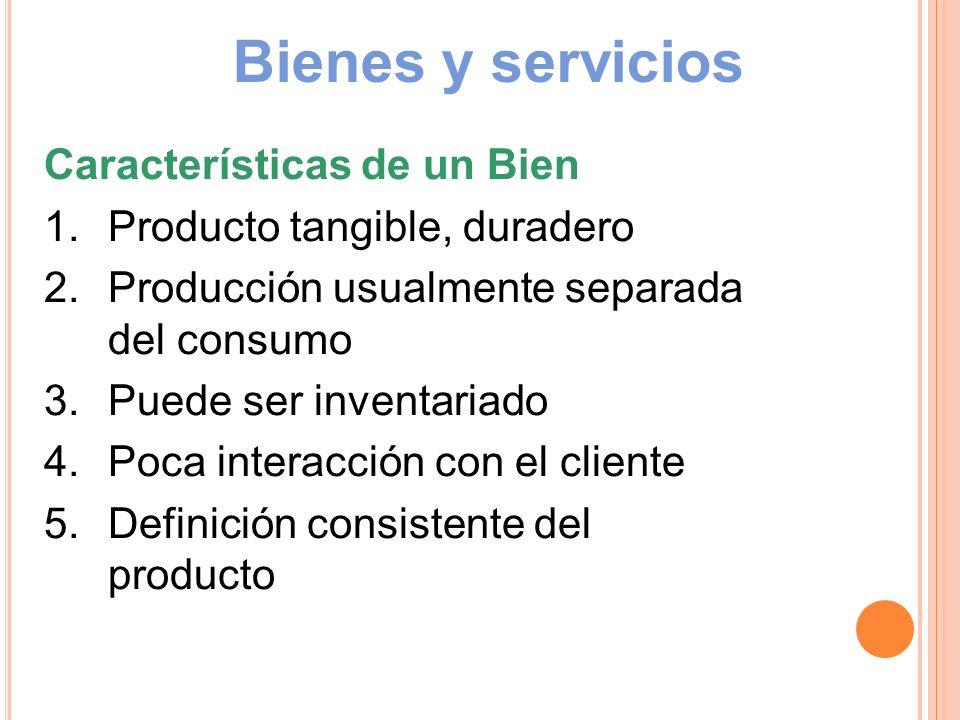 Bienes y servicios Características de un Bien