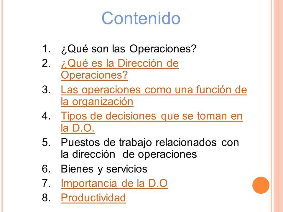 Contenido ¿Qué son las Operaciones