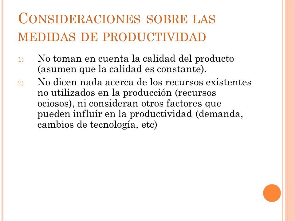 Consideraciones sobre las medidas de productividad