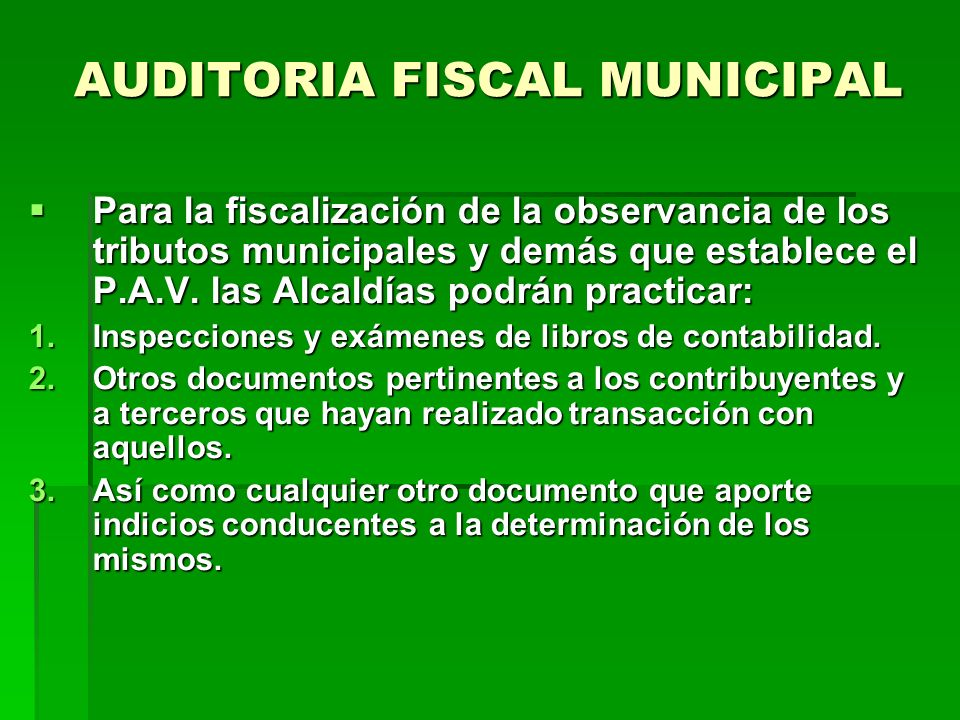 AUDITORIA FISCAL MUNICIPAL