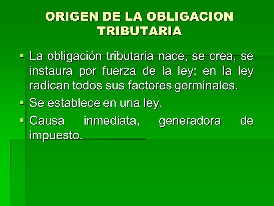 ORIGEN DE LA OBLIGACION TRIBUTARIA
