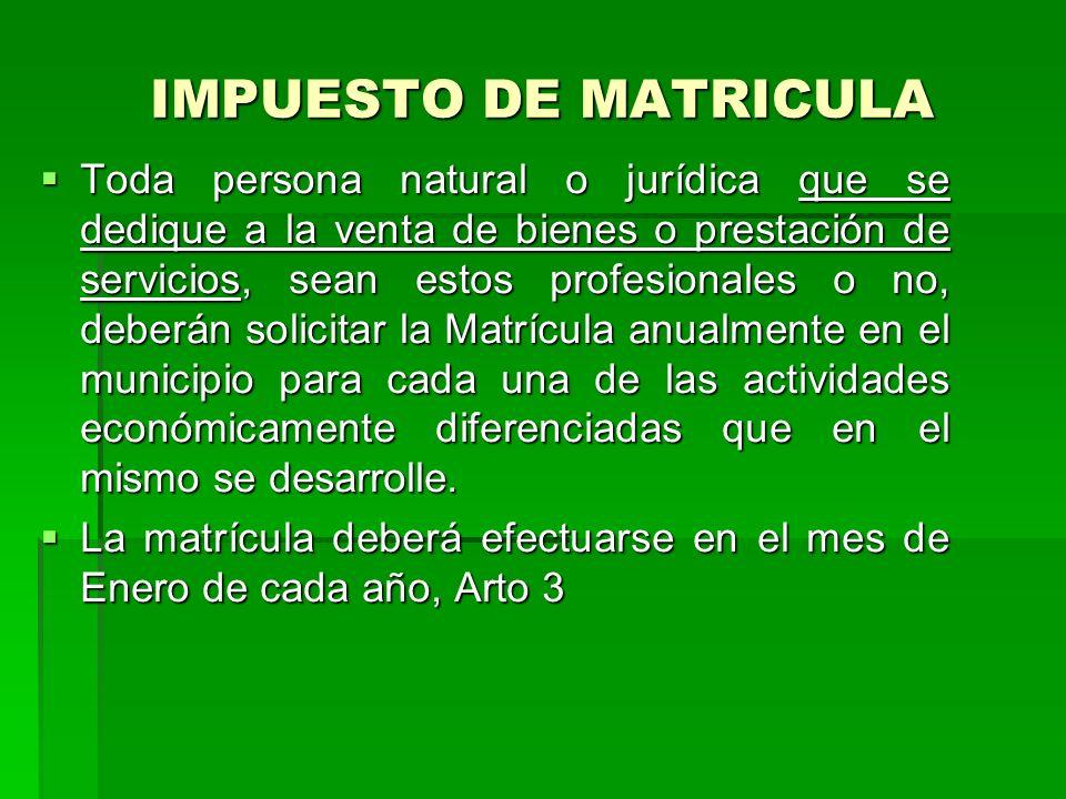IMPUESTO DE MATRICULA