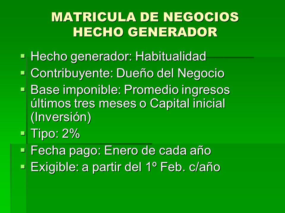 MATRICULA DE NEGOCIOS HECHO GENERADOR